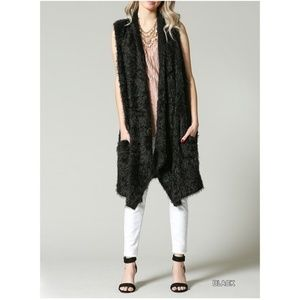 New! Black Shaggy Fur Vest with Pockets!